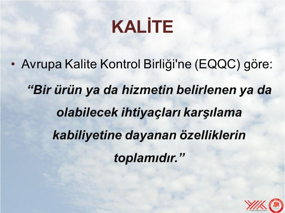 KALİTE Avrupa Kalite Kontrol Birliği ne (EQQC) göre: