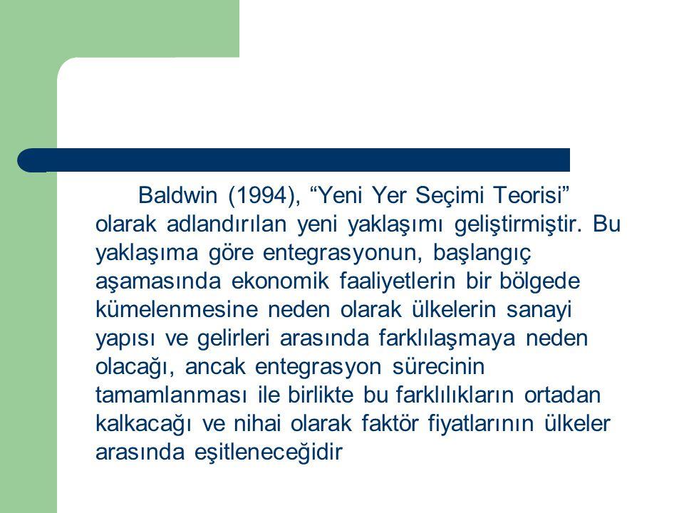Baldwin (1994), Yeni Yer Seçimi Teorisi olarak adlandırılan yeni yaklaşımı geliştirmiştir.
