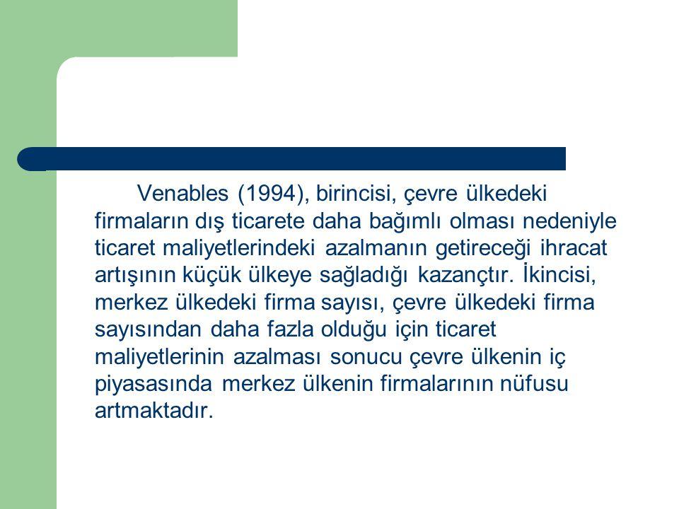 Venables (1994), birincisi, çevre ülkedeki firmaların dış ticarete daha bağımlı olması nedeniyle ticaret maliyetlerindeki azalmanın getireceği ihracat artışının küçük ülkeye sağladığı kazançtır.