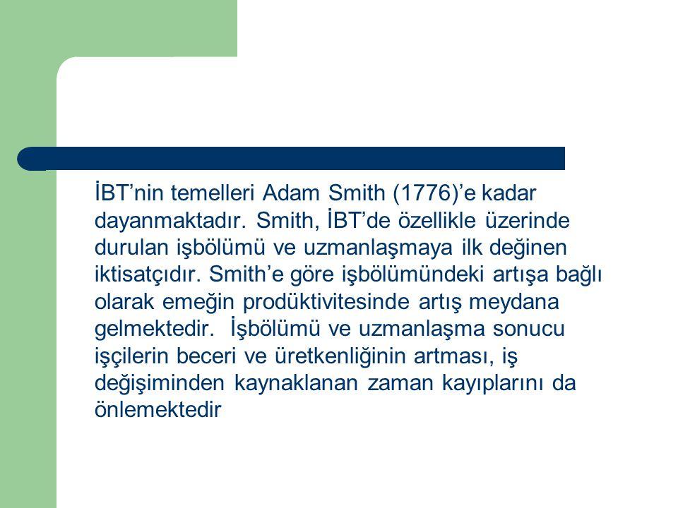 İBT'nin temelleri Adam Smith (1776)'e kadar dayanmaktadır