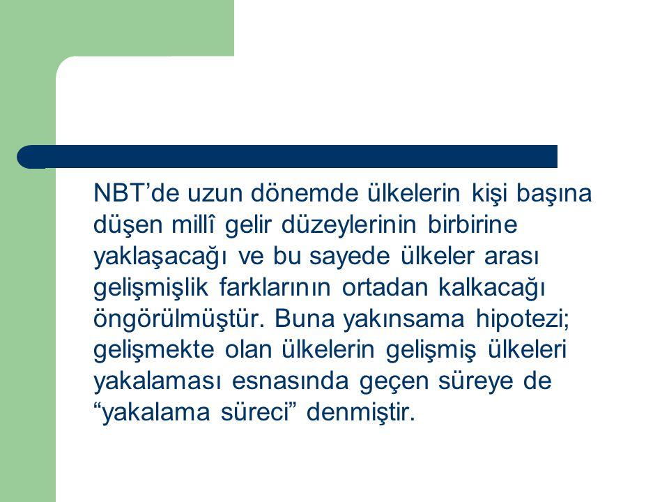 NBT'de uzun dönemde ülkelerin kişi başına düşen millî gelir düzeylerinin birbirine yaklaşacağı ve bu sayede ülkeler arası gelişmişlik farklarının ortadan kalkacağı öngörülmüştür.
