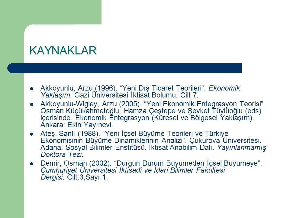 KAYNAKLAR Akkoyunlu, Arzu (1996). Yeni Dış Ticaret Teorileri . Ekonomik Yaklaşım. Gazi Üniversitesi İktisat Bölümü. Cilt 7.