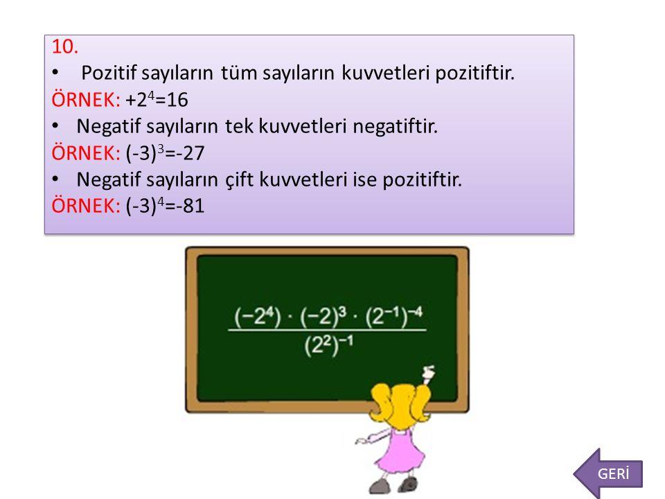 Pozitif sayıların tüm sayıların kuvvetleri pozitiftir. ÖRNEK: +24=16