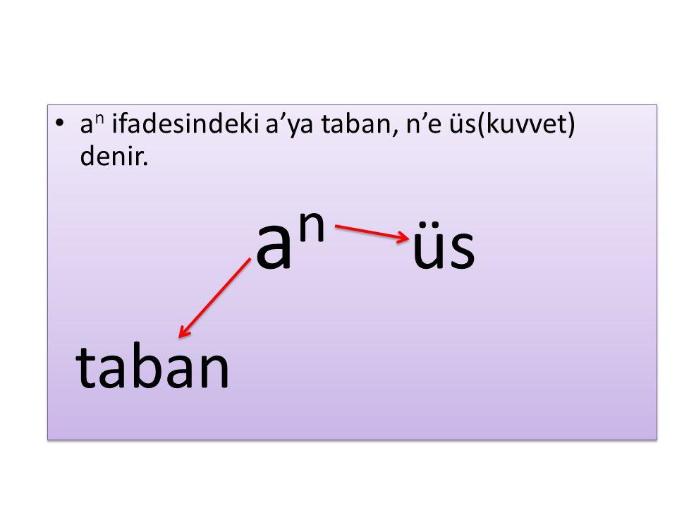 an ifadesindeki a'ya taban, n'e üs(kuvvet) denir.