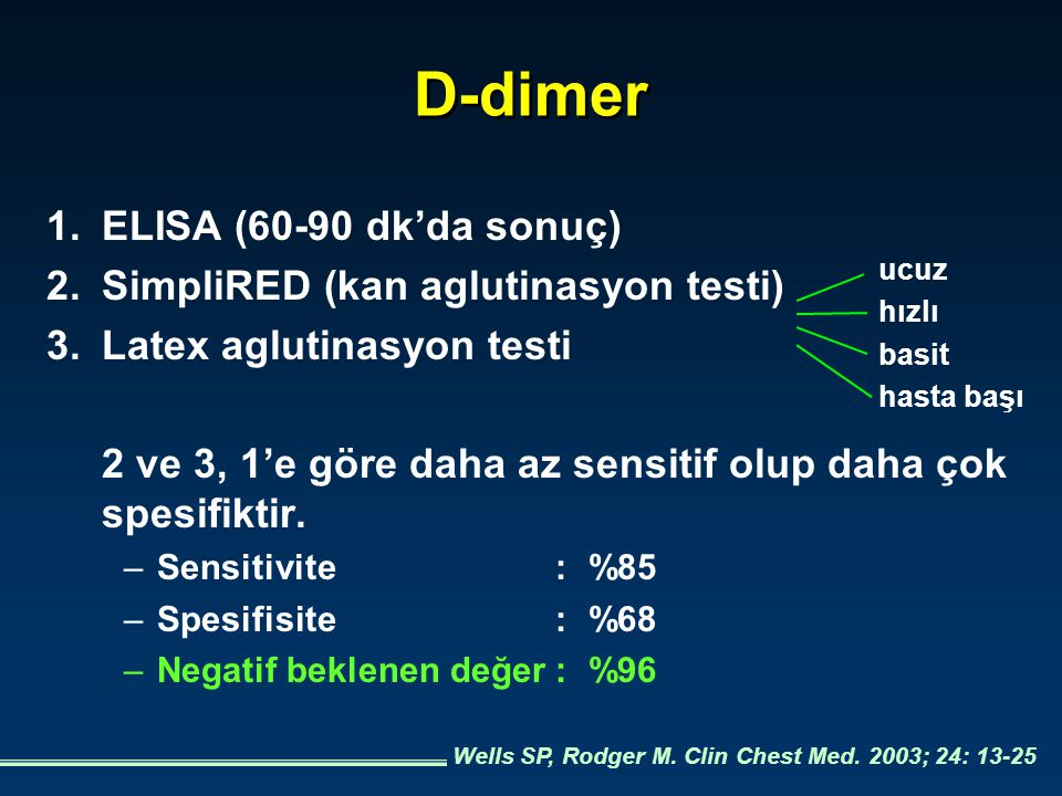 D-dimer 1. ELISA (60-90 dk'da sonuç)