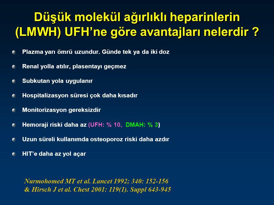 Düşük molekül ağırlıklı heparinlerin (LMWH) UFH'ne göre avantajları nelerdir