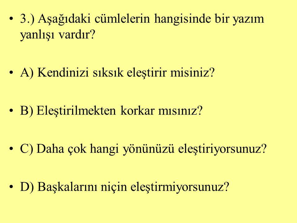 3.) Aşağıdaki cümlelerin hangisinde bir yazım yanlışı vardır