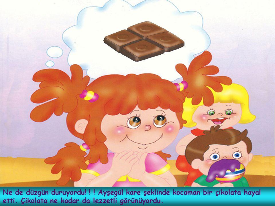 Ne de düzgün duruyordu. Ayşegül kare şeklinde kocaman bir çikolata hayal etti.