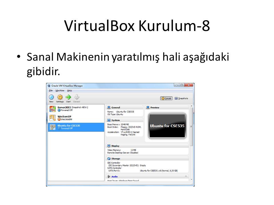 VirtualBox Kurulum-8 Sanal Makinenin yaratılmış hali aşağıdaki gibidir.