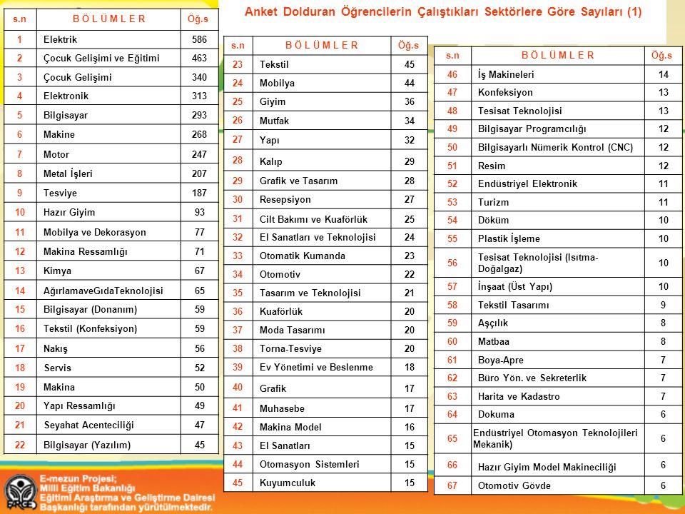 Anket Dolduran Öğrencilerin Çalıştıkları Sektörlere Göre Sayıları (1)