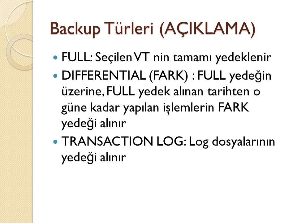 Backup Türleri (AÇIKLAMA)