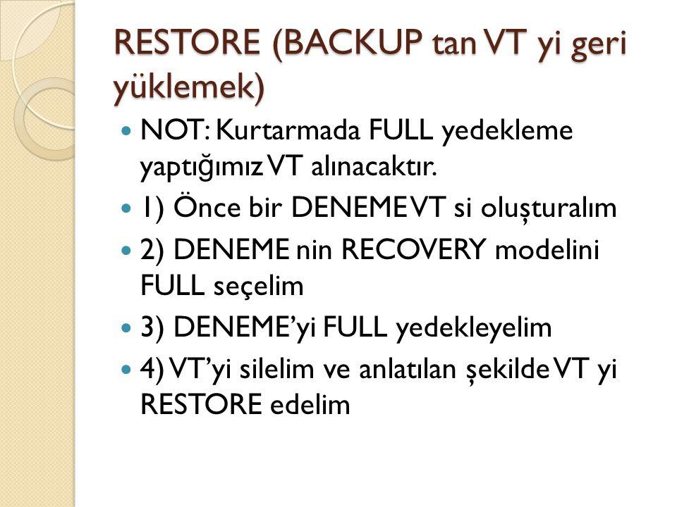 RESTORE (BACKUP tan VT yi geri yüklemek)