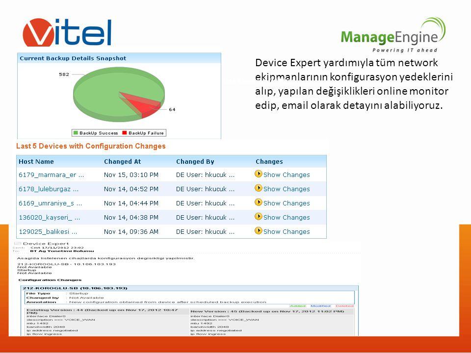 Device Expert yardımıyla tüm network ekipmanlarının konfigurasyon yedeklerini alıp, yapılan değişiklikleri online monitor edip, email olarak detayını alabiliyoruz.