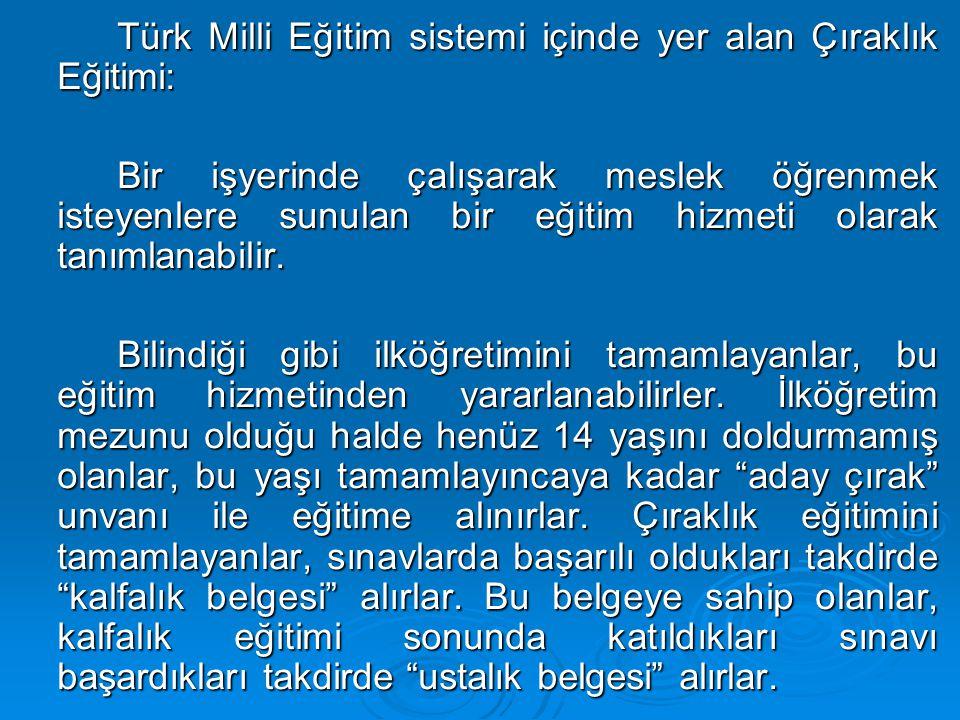Türk Milli Eğitim sistemi içinde yer alan Çıraklık Eğitimi: