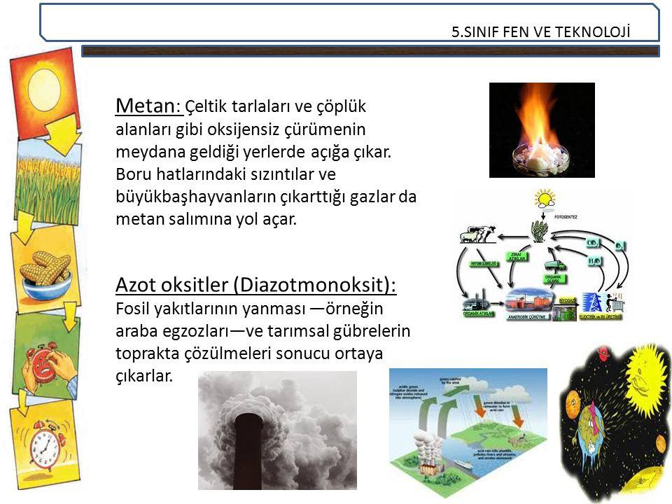 Metan: Çeltik tarlaları ve çöplük alanları gibi oksijensiz çürümenin meydana geldiği yerlerde açığa çıkar. Boru hatlarındaki sızıntılar ve büyükbaşhayvanların çıkarttığı gazlar da metan salımına yol açar.