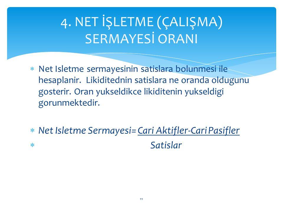 4. NET İŞLETME (ÇALIŞMA) SERMAYESİ ORANI