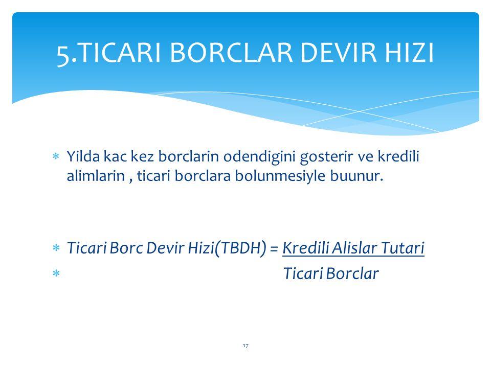 5.TICARI BORCLAR DEVIR HIZI