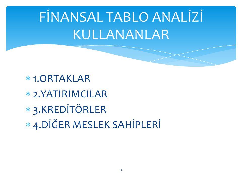 FİNANSAL TABLO ANALİZİ KULLANANLAR
