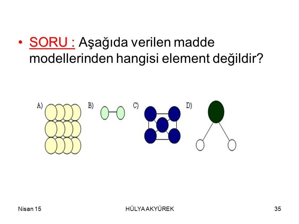 SORU : Aşağıda verilen madde modellerinden hangisi element değildir
