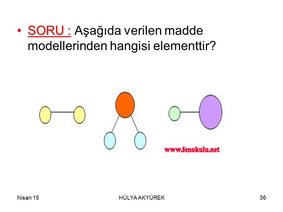 SORU : Aşağıda verilen madde modellerinden hangisi elementtir