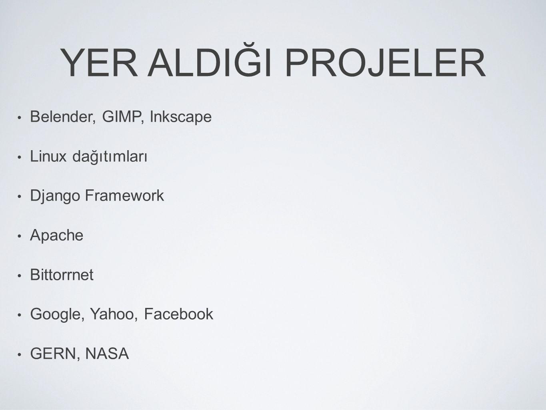 YER ALDIĞI PROJELER Belender, GIMP, Inkscape Linux dağıtımları
