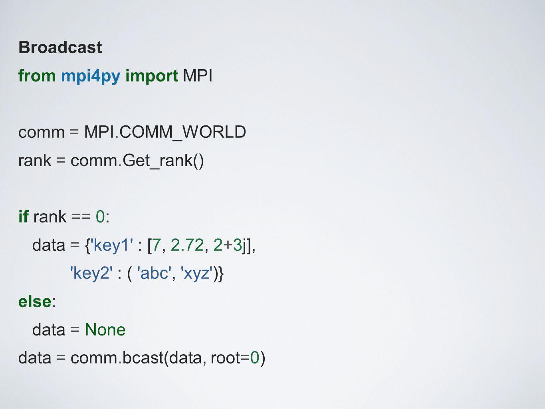 Broadcast from mpi4py import MPI comm = MPI. COMM_WORLD rank = comm