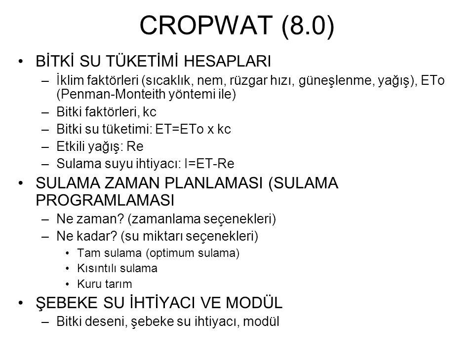 CROPWAT (8.0) BİTKİ SU TÜKETİMİ HESAPLARI
