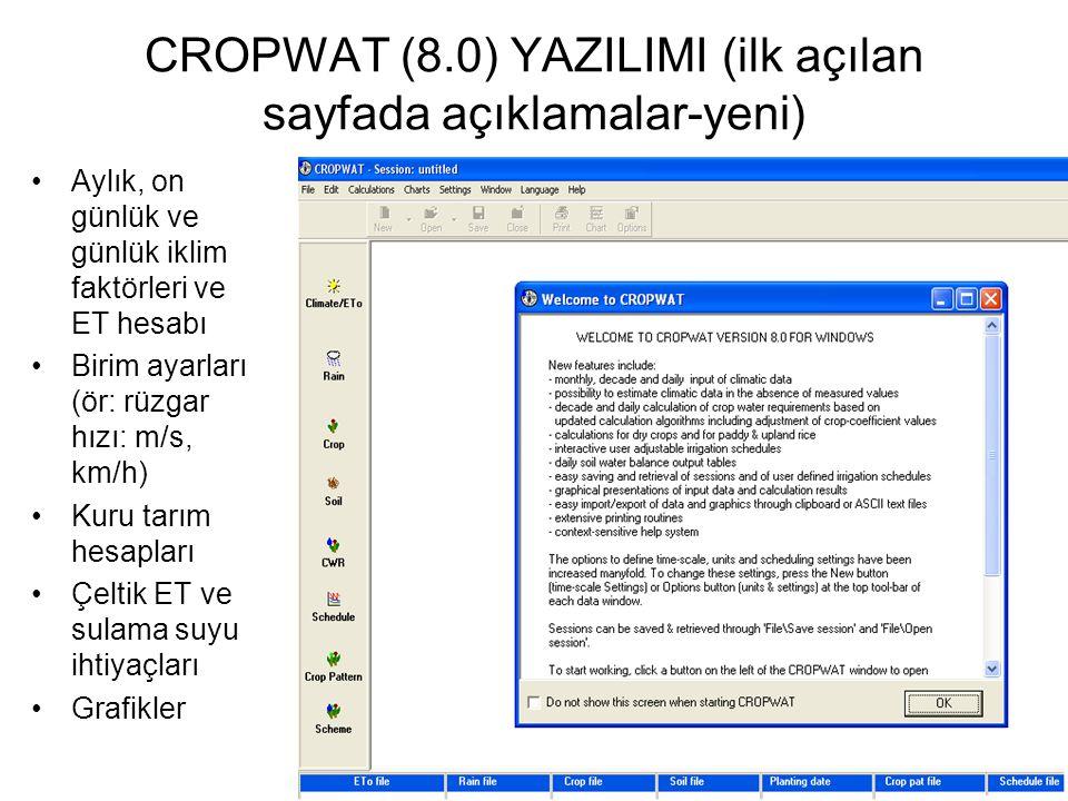CROPWAT (8.0) YAZILIMI (ilk açılan sayfada açıklamalar-yeni)