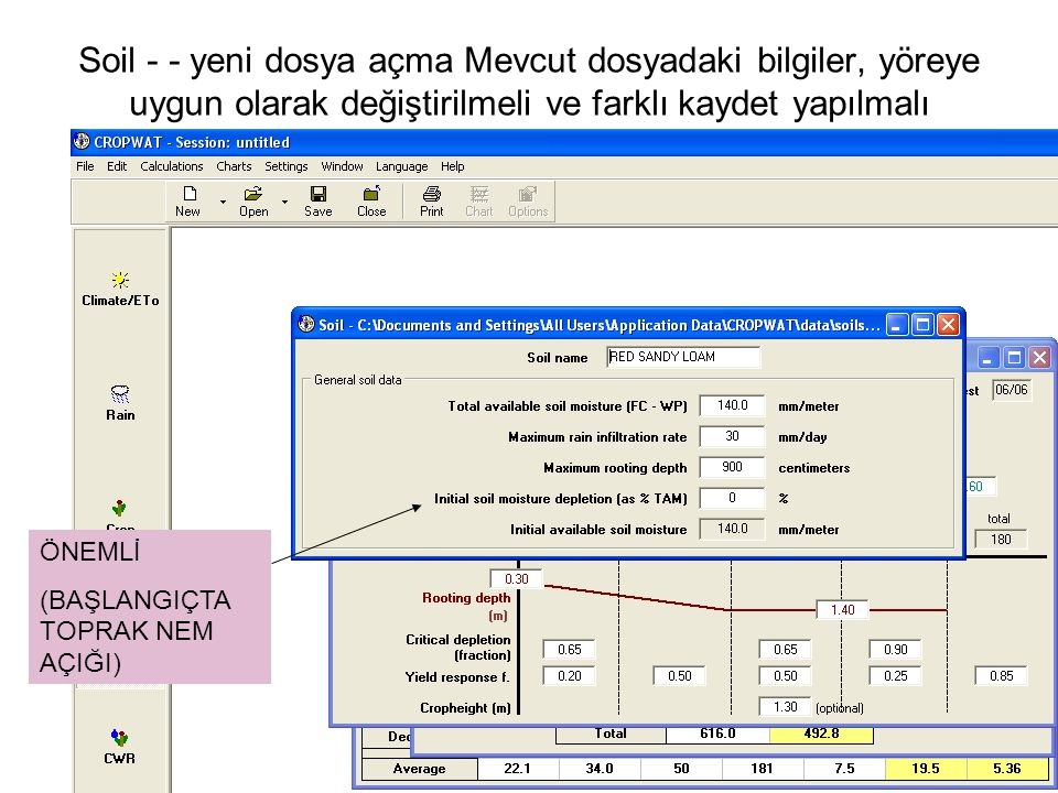 Soil - - yeni dosya açma Mevcut dosyadaki bilgiler, yöreye uygun olarak değiştirilmeli ve farklı kaydet yapılmalı