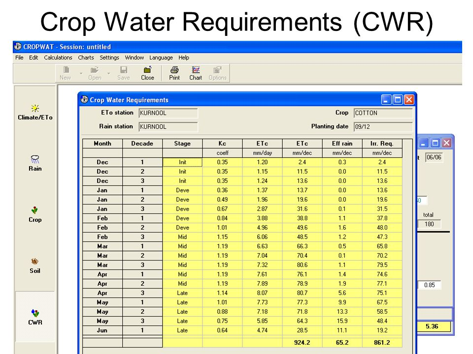 Crop Water Requirements (CWR)