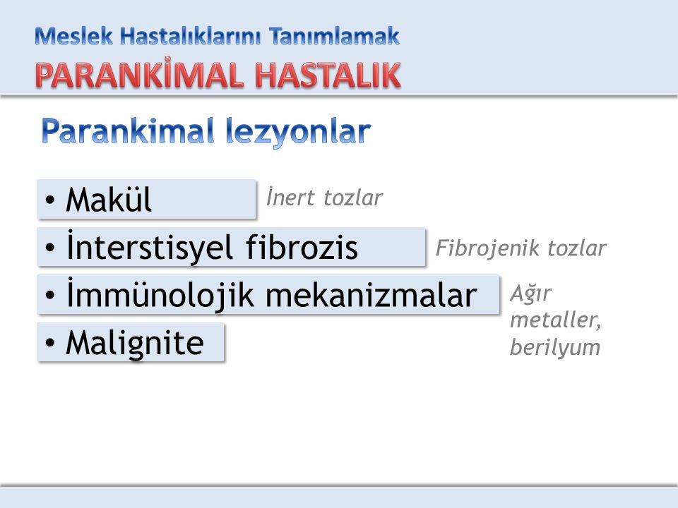 İnterstisyel fibrozis İmmünolojik mekanizmalar Malignite