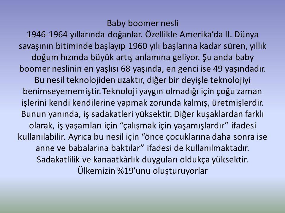 Baby boomer nesli 1946-1964 yıllarında doğanlar