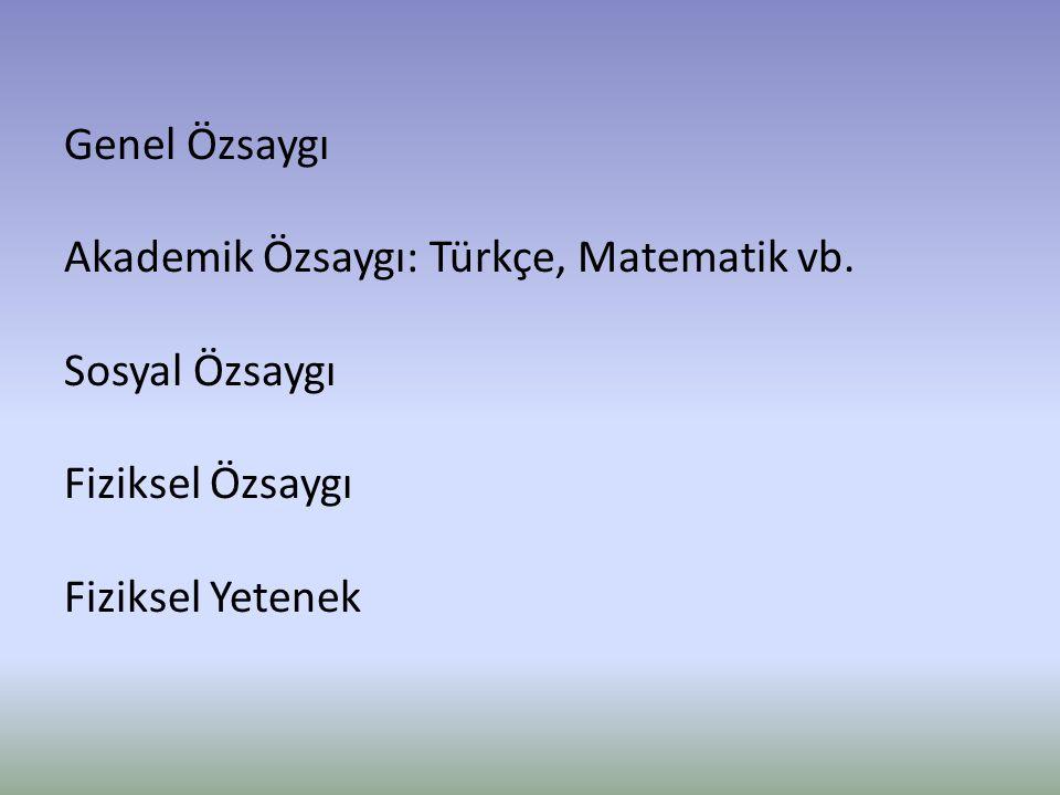 Genel Özsaygı Akademik Özsaygı: Türkçe, Matematik vb