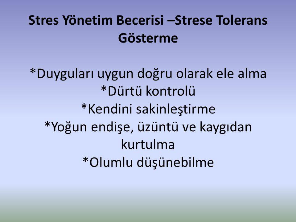 Stres Yönetim Becerisi –Strese Tolerans Gösterme
