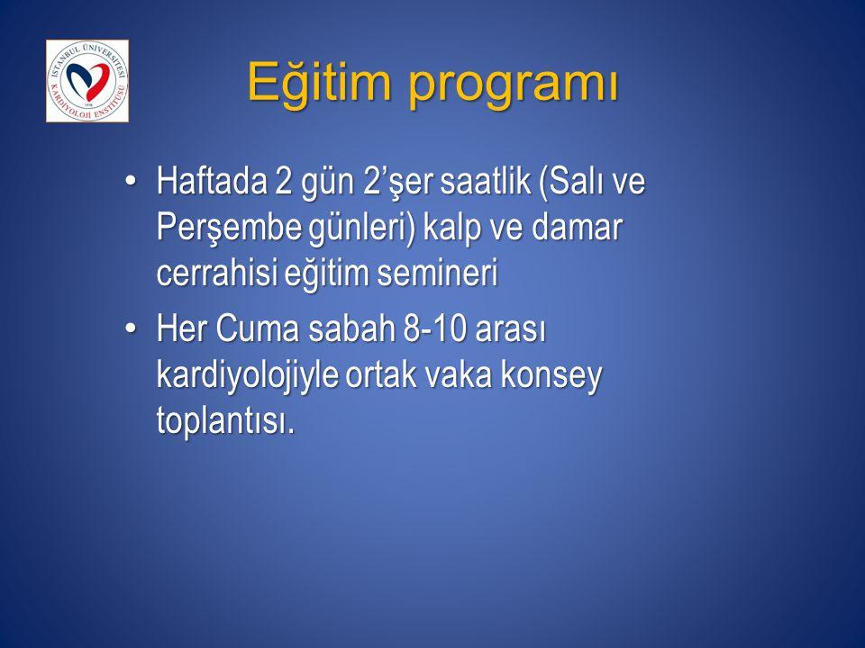 Eğitim programı Haftada 2 gün 2'şer saatlik (Salı ve Perşembe günleri) kalp ve damar cerrahisi eğitim semineri.