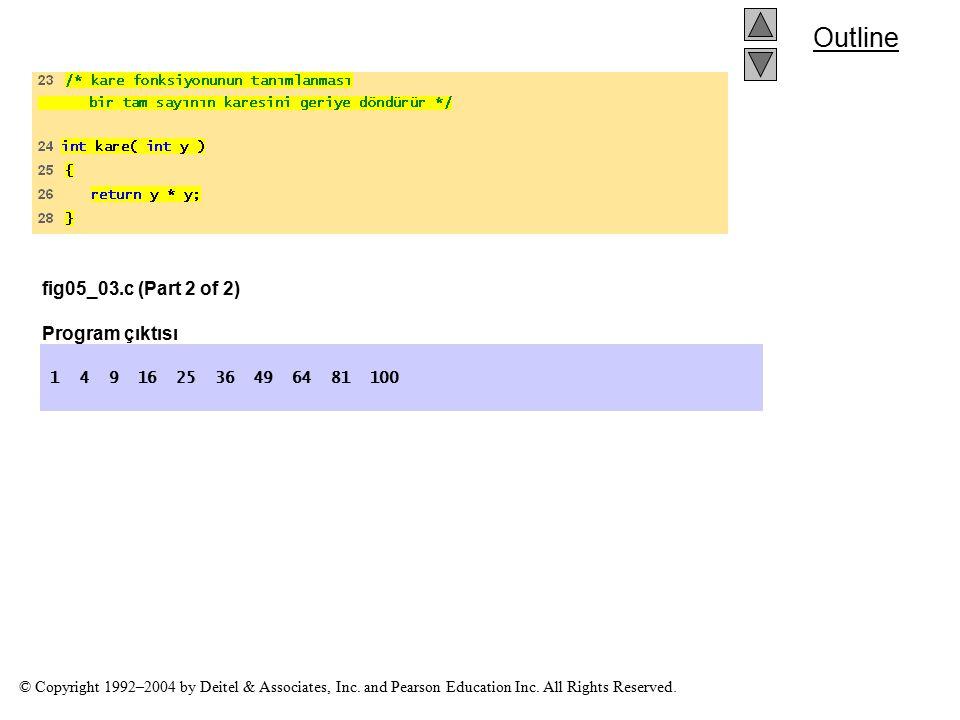 fig05_03.c (Part 2 of 2) Program çıktısı
