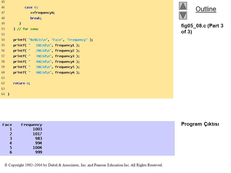 fig05_08.c (Part 3 of 3) Program Çıktısı