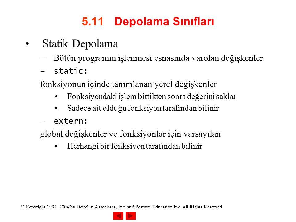 5.11 Depolama Sınıfları Statik Depolama