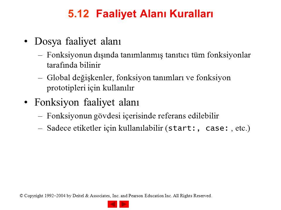 5.12 Faaliyet Alanı Kuralları
