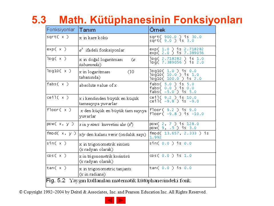 5.3 Math. Kütüphanesinin Fonksiyonları