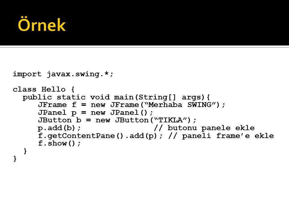 Örnek import javax.swing.*; class Hello {