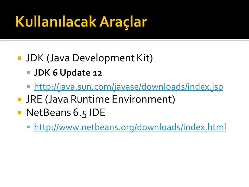 Kullanılacak Araçlar JDK (Java Development Kit)