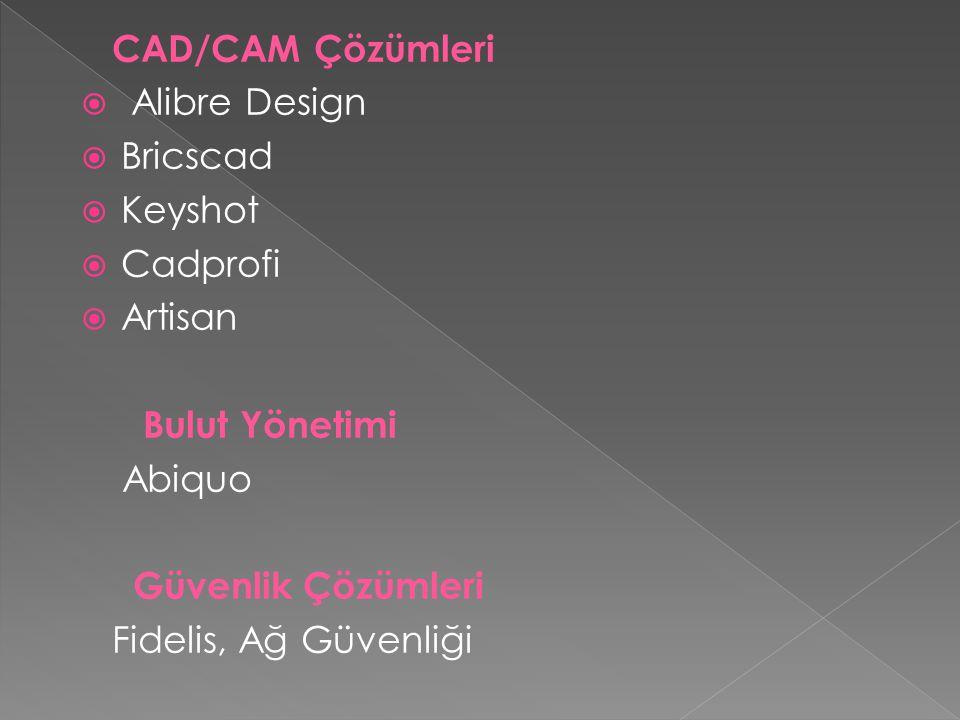 CAD/CAM Çözümleri Alibre Design. Bricscad. Keyshot. Cadprofi. Artisan. Bulut Yönetimi. Abiquo.