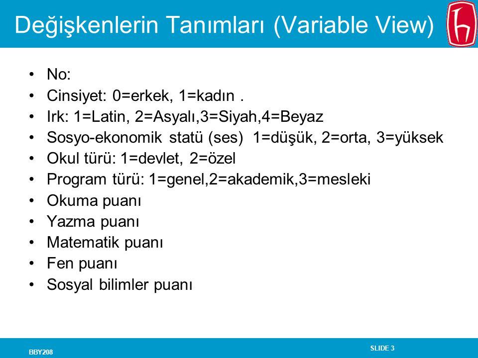 Değişkenlerin Tanımları (Variable View)