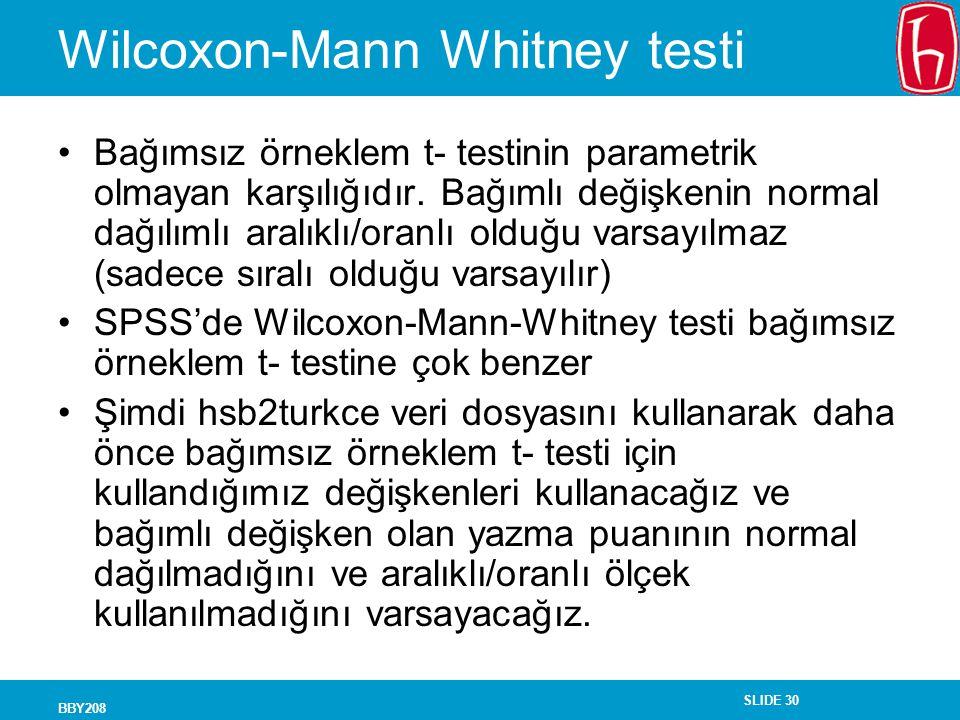 Wilcoxon-Mann Whitney testi