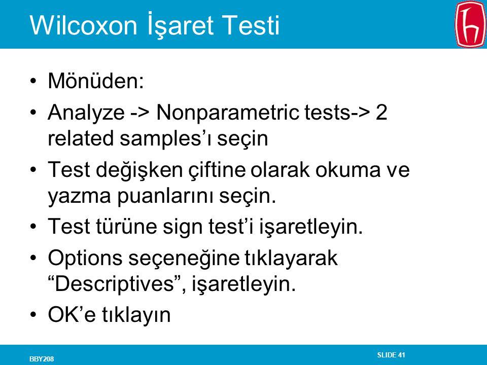 Wilcoxon İşaret Testi Mönüden:
