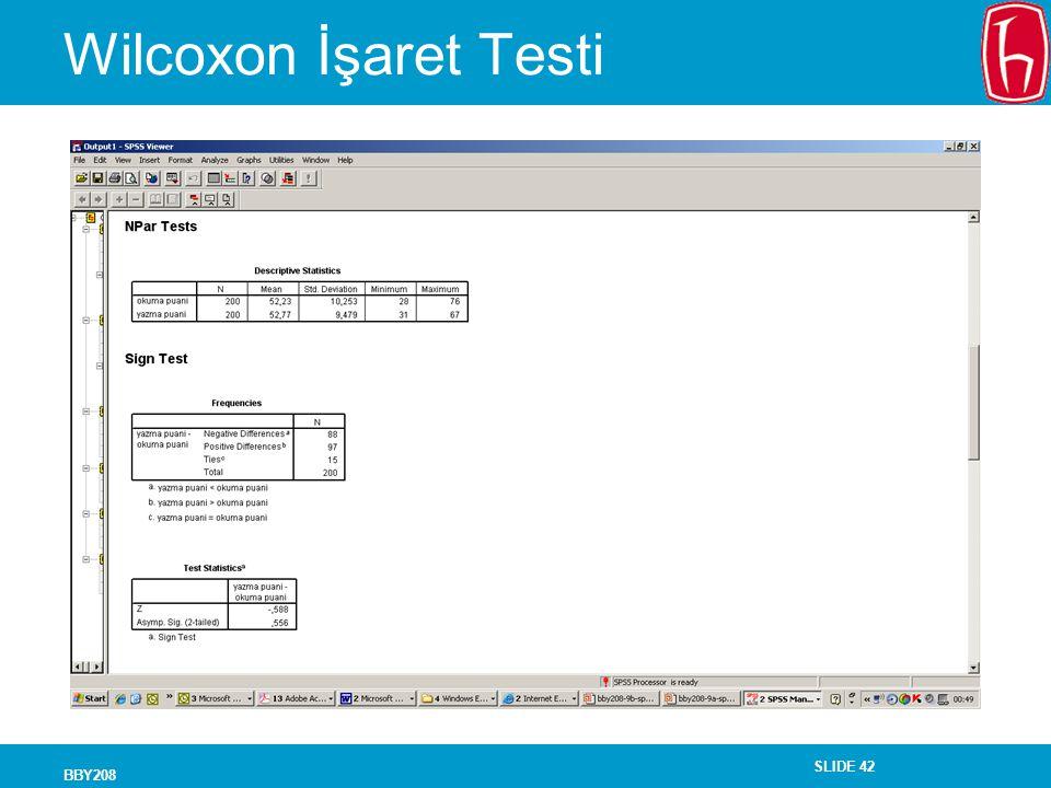 Wilcoxon İşaret Testi BBY208