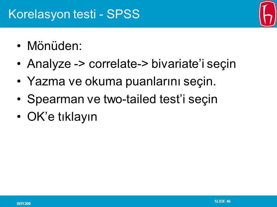 Korelasyon testi - SPSS