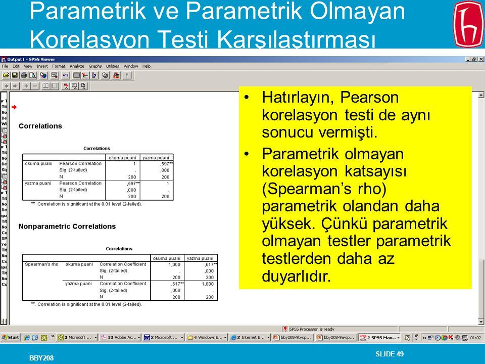 Parametrik ve Parametrik Olmayan Korelasyon Testi Karşılaştırması