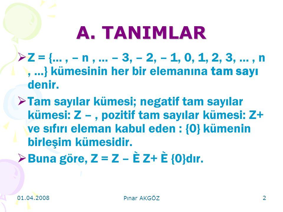 A. TANIMLAR Z = {... , – n , ... – 3, – 2, – 1, 0, 1, 2, 3, ... , n , ...} kümesinin her bir elemanına tam sayı denir.